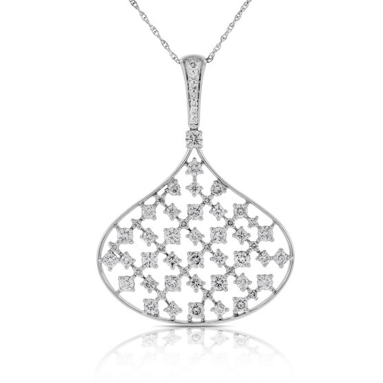 Diamond Lattice Work Pendant 14K