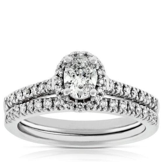 Oval Diamond Wedding Set 14K