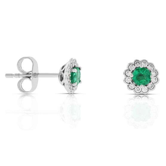 Emerald & Diamond Halo Earrings 14K
