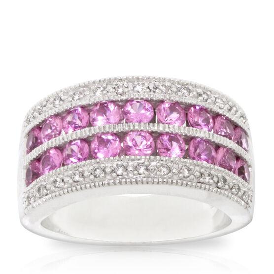 Pink Sapphire & Diamond Ring 14K