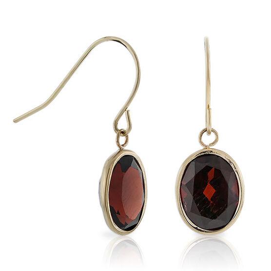 Garnet Dangle Earrings 14K