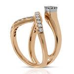 Rose Gold Criss Cross Diamond Ring 18K