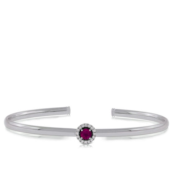 Ruby & Diamond Cuff Bracelet 14K