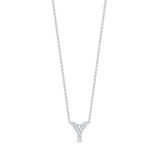 Roberto Coin Diamond Initial Pendant 18K Letter 'Y'