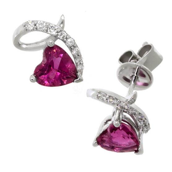 Pink Tourmaline & Diamond Earrings 14K