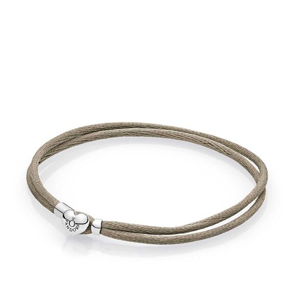 PANDORA Grey Green Fabric Cord Bracelet