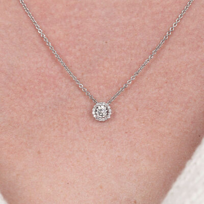 Cluster Diamond Halo Pendant 14K