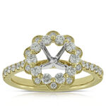 Diamond Flower Semi-Mount Ring 14K