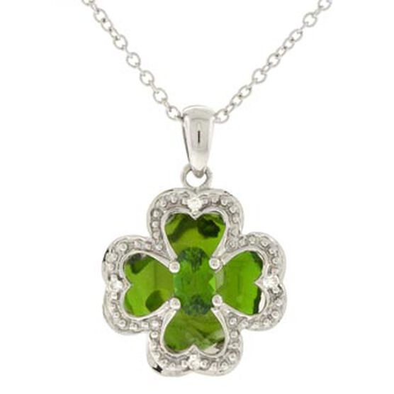Chrome Diopside & Diamond Pendant 14K