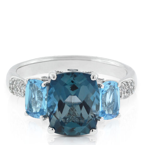 Blue Topaz & Diamond Three-Stone Ring 14K