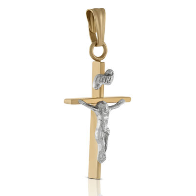 Two-Tone Crucifix 14K