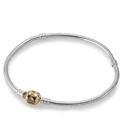 PANDORA NECKLACE, SILVER WITH 14K CLASP