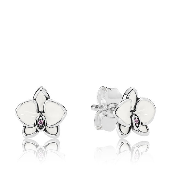 PANDORA Orchids Earrings, White Enamel & CZ