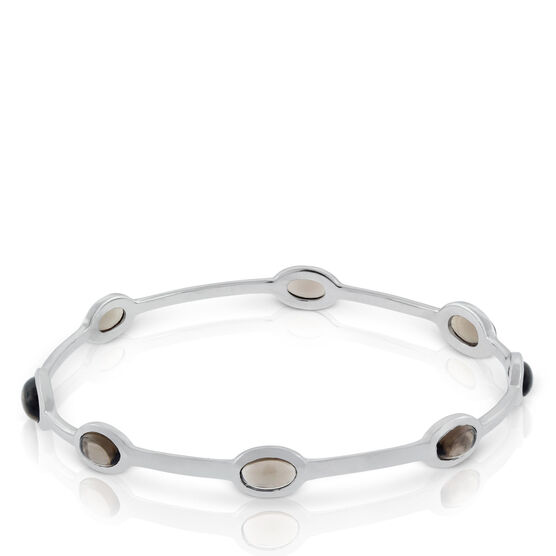 Lisa Bridge Smoky Quartz Station Bangle Bracelet in Sterling Silver