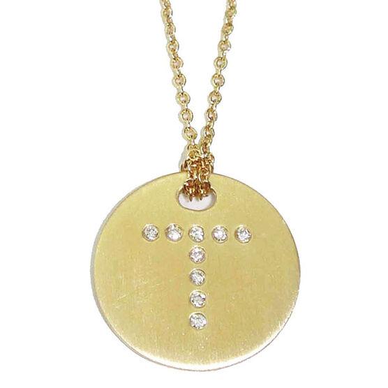 Roberto Coin Diamond Initial Pendant 18K Letter 'T'