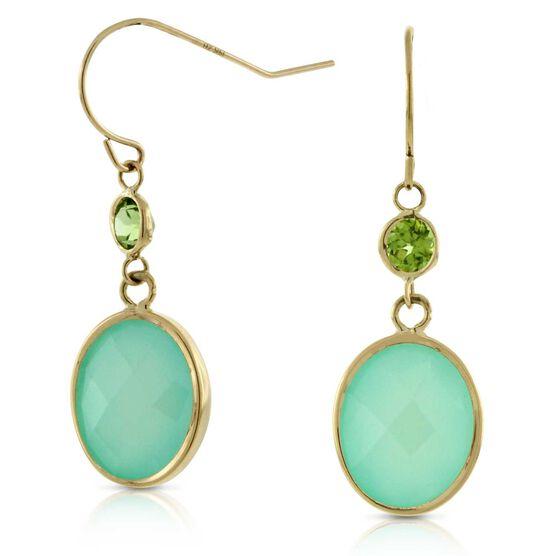 Oval Chalcedony & Peridot Earrings 14K