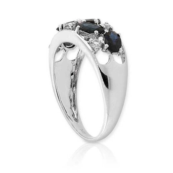 Blue and White Sapphire Ring 14K