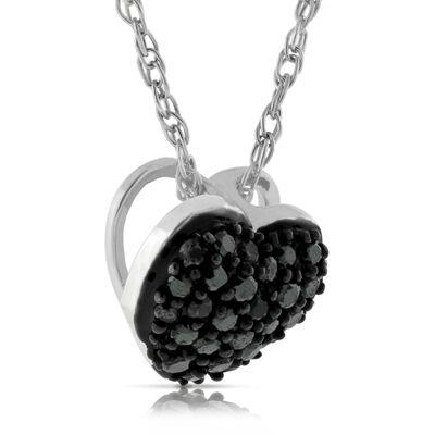 Black Diamond Heart Pendant 14K