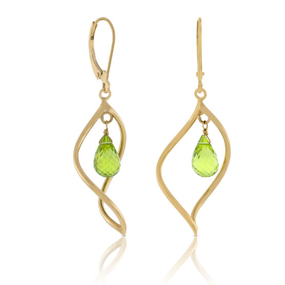 Peridot Briolette Dangle Earrings 14K