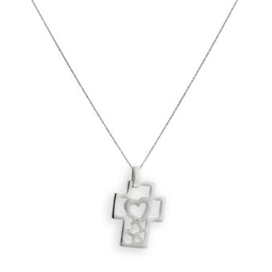 Diamond Heart Cross Pendant in Sterling Silver
