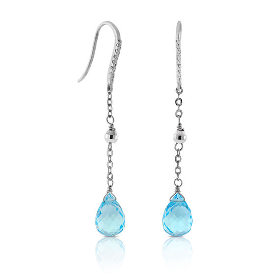 Blue Topaz Briolette Dangle Earrings 14K