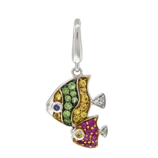 Gemstone & Diamond Fish Charm / Pendant 14K