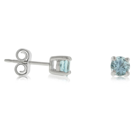 Aquamarine Stud Earrings 14K