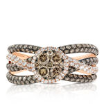 Rose Gold Brown & White Diamond Cluster Ring 14K