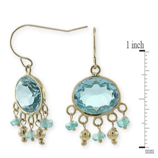 Blue Topaz & Apatite Earrings 14K