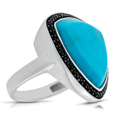 Lisa Bridge Turquoise &  Black Sapphire Ring