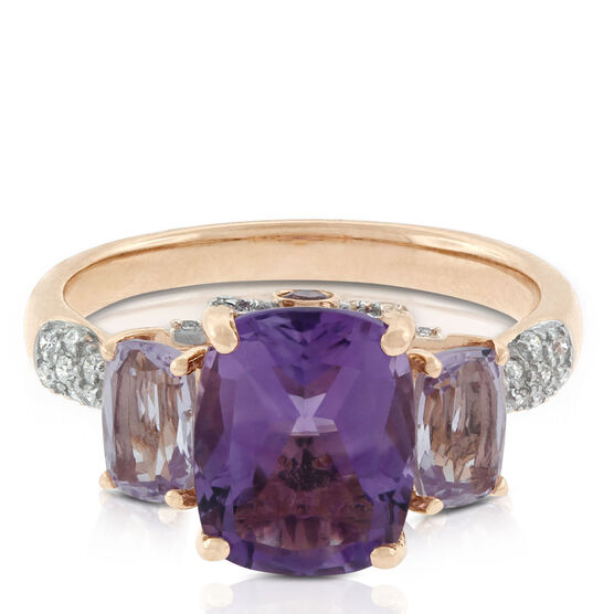Amethyst & Diamond Three-Stone Ring 14K
