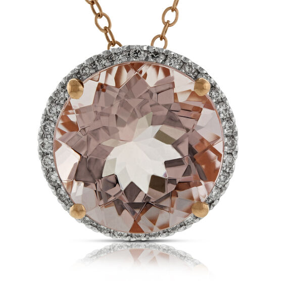 Morganite & Diamond Pendant 14K