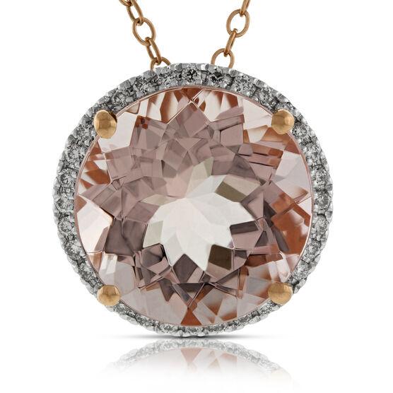 Morganite & Diamond Pendant 14K Rose