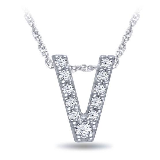 Diamond Initial Pendant 14K Letter 'V'