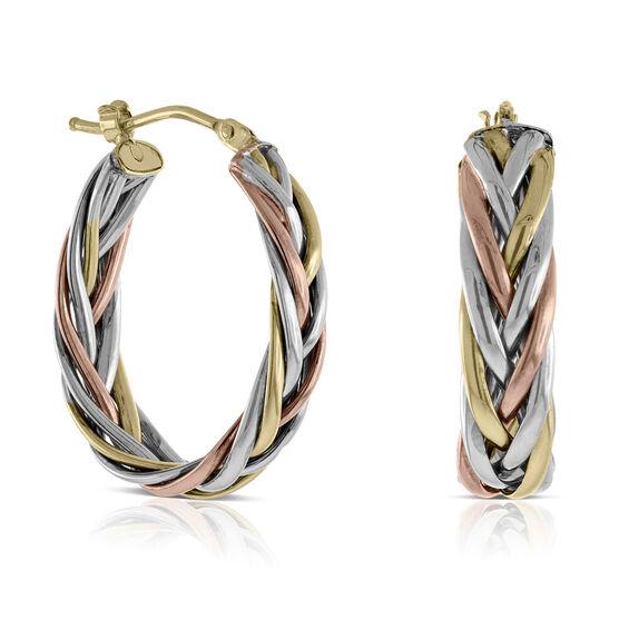 Toscano Braided Tri-Color Hoop Earrings 14K