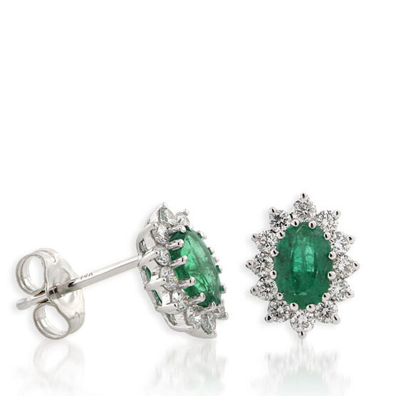 Emerald & Diamond Earrings 14K