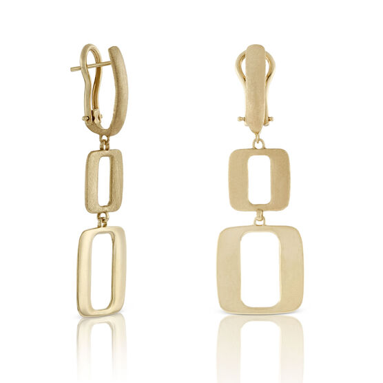 Toscano Open Geometric Drop Earrings 18K