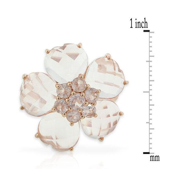 Rose Quartz Flower Ring 14K