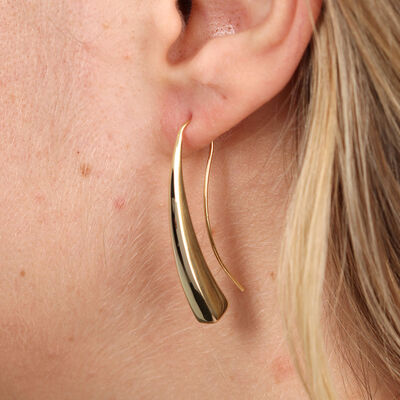 Golden Tapered Bar Earring 14K