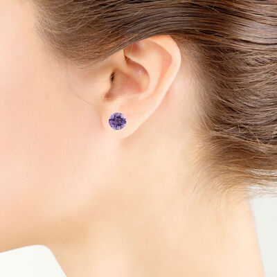 Checkered Amethyst Earrings 14K