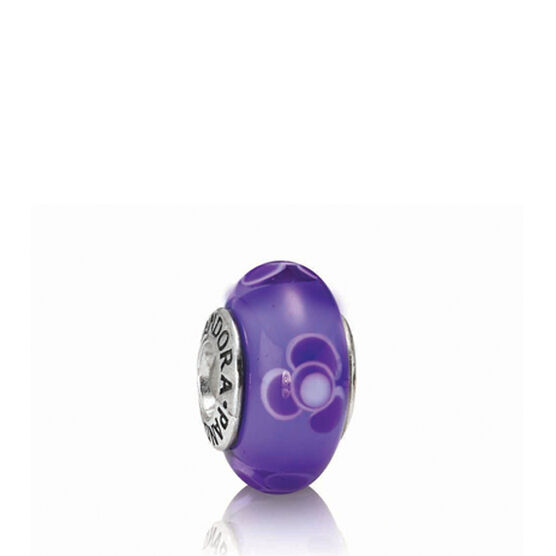 PANDORA Flowers For You Purple Charm RETIRED