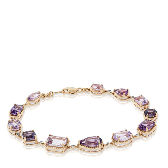 Amethyst & Diamond Bracelet 14K Rose