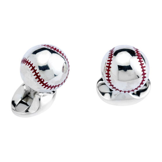 Deakin & Francis Baseball Cufflinks in Sterling Silver