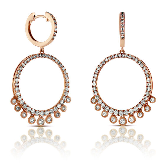 Rose Gold Circle Dangle Diamond Earrings 14K