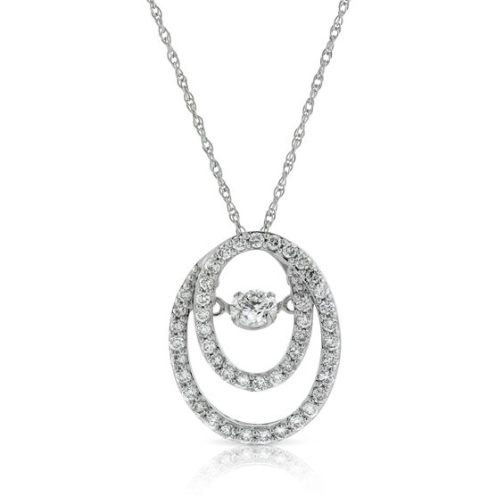 Love's Pulse Double Oval Diamond Pendant 14K