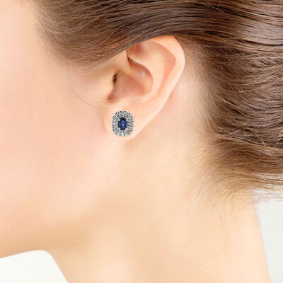 Sapphire & Diamond Halo Earrings 14K