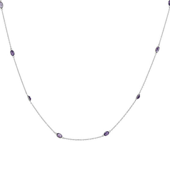 Amethyst Necklace in Sterling Silver, 38""