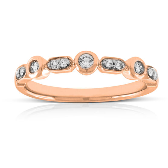 Rose Gold Diamond Stacking Band 14K
