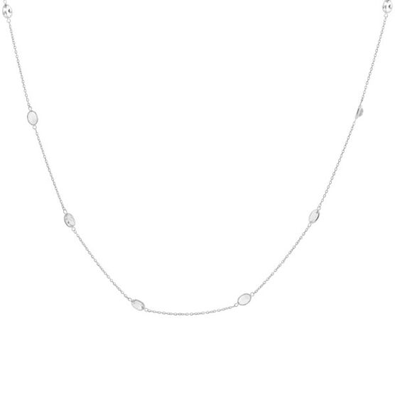 White Topaz Chain in Sterling Silver, 38""
