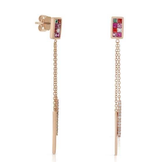 Pink Sapphire & Diamond Mosaic Earrings 14K